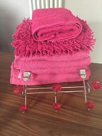 Pink beach and bath towels and over the door pink diomonte towel hooks