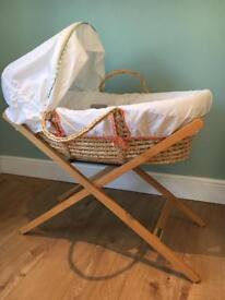 Mamas & Papas Moses Basket and Stand Immaculate Condition