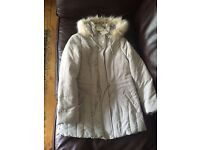 Ladies size 10 BHS beige coat with detachable fur hood. brand new with tags.