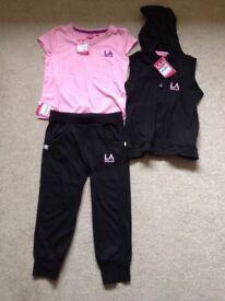 LA Gear bundle- Age 9-10. BNWT. Pink t-shirt, black cropped jogging pants and black gilet