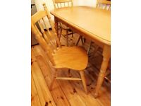 Kitchen table and chairs, (Pine)