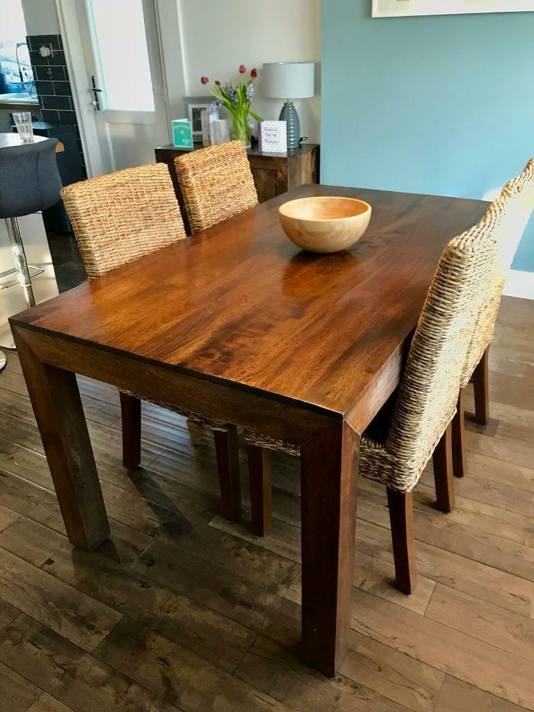 Prime Next Dakota Solid Mango Wood 6 Seater Dining Table Set Including 4 Woven Rattan Chairs In Southampton Hampshire Gumtree Machost Co Dining Chair Design Ideas Machostcouk