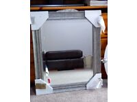 "NEW SILVER GREY WOODEN FRAMED LARGE MIRROR 20"" BY 24"""
