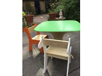 Child Green wooden table with 2 animal chairs