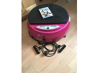 Pink vibrapower with remote, DVD and resistance bands