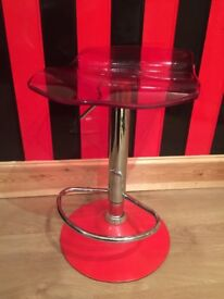 Eye catching Red and chrome bar stool chair adjustable