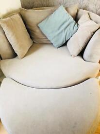 DFS Silver cuddle chair