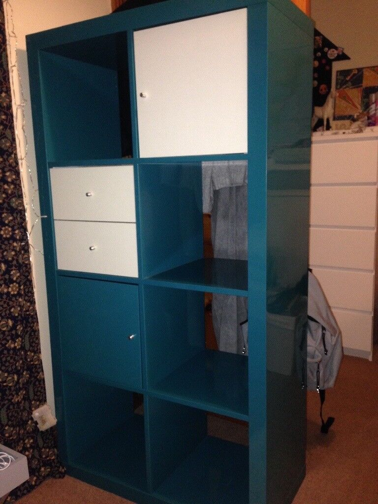 ikea kallax shelving storage unit incl. doors, drawers and boxes