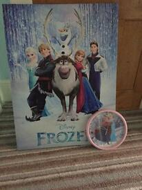 Frozen canvas and clock