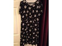 Beautiful Black Dress with Daisy Print - Size 12 - EXCELLENT CONDITION - £15 ono