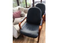 2 office chairs - navy leather