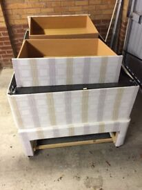 King Size Divan (Base only - no mattress). 2x integrated drawers.