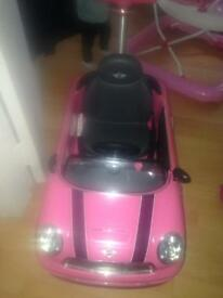 Mini Cooper push buggy pink