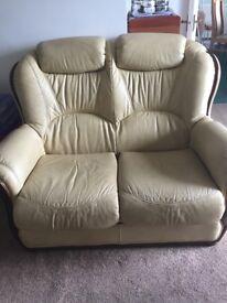 2 Seater Leather Sofa & Armchair