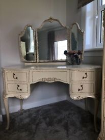 Olympus French Louis style dressing table and matching stool