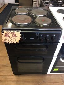 BUSH 50CM SOLID TOP ELECTRIC COOKER IN BLACK
