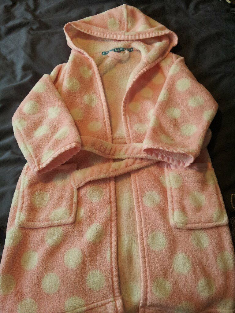 John Lewis Dressing Gown Pink with White Polka Dots. Excellent ...