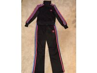 Women/Girls Adidas Tracksuit Black with Pink and Blue Stripes S/XS