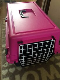 Pink pet carrier used 2 times