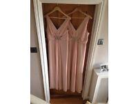 Elegant plush pink bridesmaids dresses