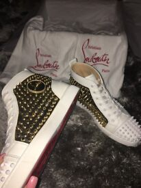 Mens White & Gold Christian Louboutin Shoes