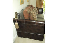 LARGE WALLIS 3 & 2 SEATER LEATHER/FABRIC KNOWLE SOFAS