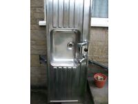 Stainless Steel sink with double drainer with taps