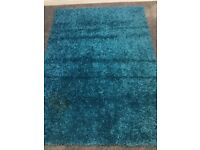 Sparkle shaggy Teal Rug size 210cm x 150cm 4 weeks old from smoke free home cost £180 new