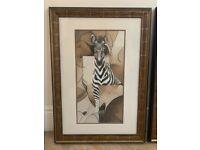 Zebra and Giraffe art print with frames