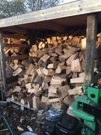 Seasoned firewood logs and baskets
