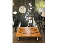 Union Jack 🇬🇧 Solid Oak / Industrial Coffee Table