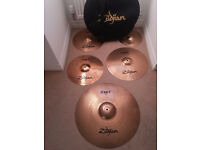 "Zildjian ZBT Cymbals - (20"" Ride, 16"" Crash, 14"" Hi-Hats, 10"" Splash & Case)"