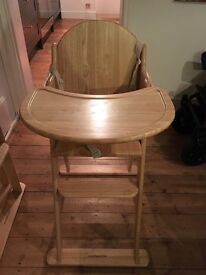 Almost brand new Mothercare 'valencia' wooden high chair (2 available)