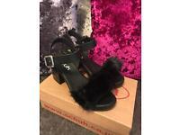 Schuh black fur sandals size 5 - brand new