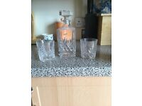 Galway crystal decanter and 2 glasses