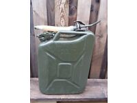 GREEN METAL JERRY CAN WITH FUNNEL 20 LITRES FOR SALE