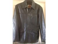 Mens black leather jacket size large