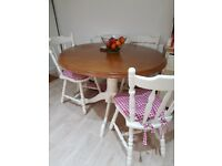 Painted dining table with 4 chairs
