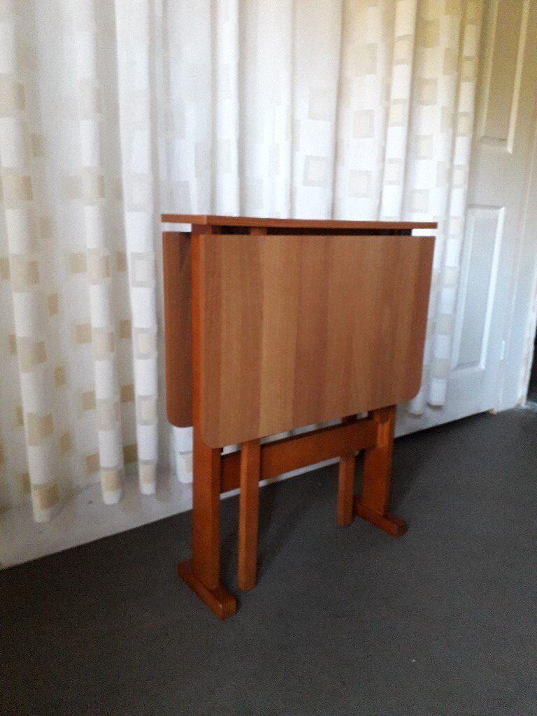 Small Vintage Teak Effect Drop Leaf Gate Leg Dining Table Ideal For Es