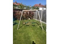 Plum double swing set with 2 swings included