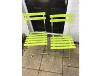 2 x Green Metal Chairs