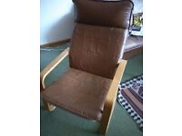 2 X Vintage light wood brown leather covered chairs