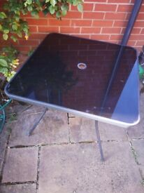 Garden Table Black Glass 4 Person With Parasol Holder