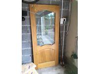 Oak internal door with glazing