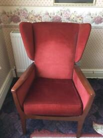 Red fabric armchair