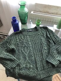 Emerald dark green cable knit jumper by glassworks size small medium