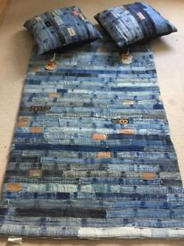 Recycled Denim Jean belt Rug, 150x96 cm with matching cushions