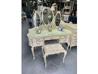 Vintage, French style dressing table , mirrors & stool
