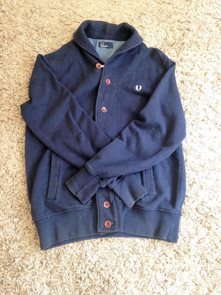 Mens Large navy Fred Perry, button up, cotton cardigan