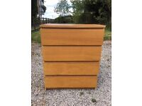 large 4 draw chest of drawers in oak x 2
